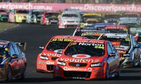 The V8 Supercars on the grid for the start of the Coates Hire Ipswich 400 at Queensland Raceway.